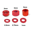 Aluminum 3mm Bore Washer Set 0.5, 0.75, 1, 2, 3, 5mm each 4pcs (Red)
